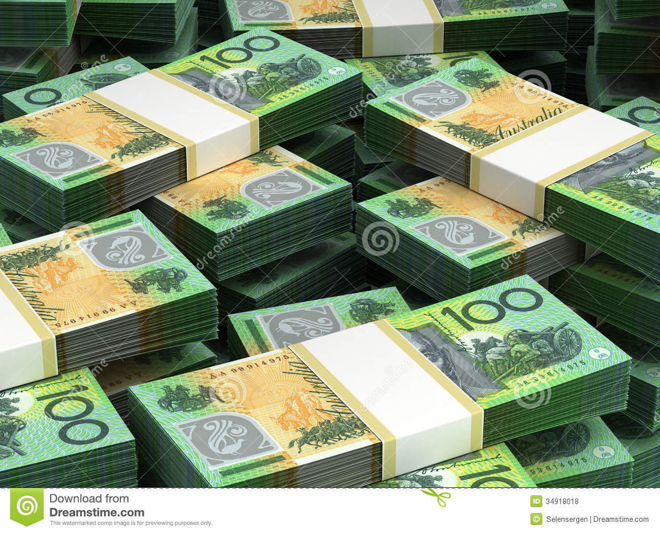 Stack Of Australian Dollar Royalty Free Stock Photos - Image: 34918018