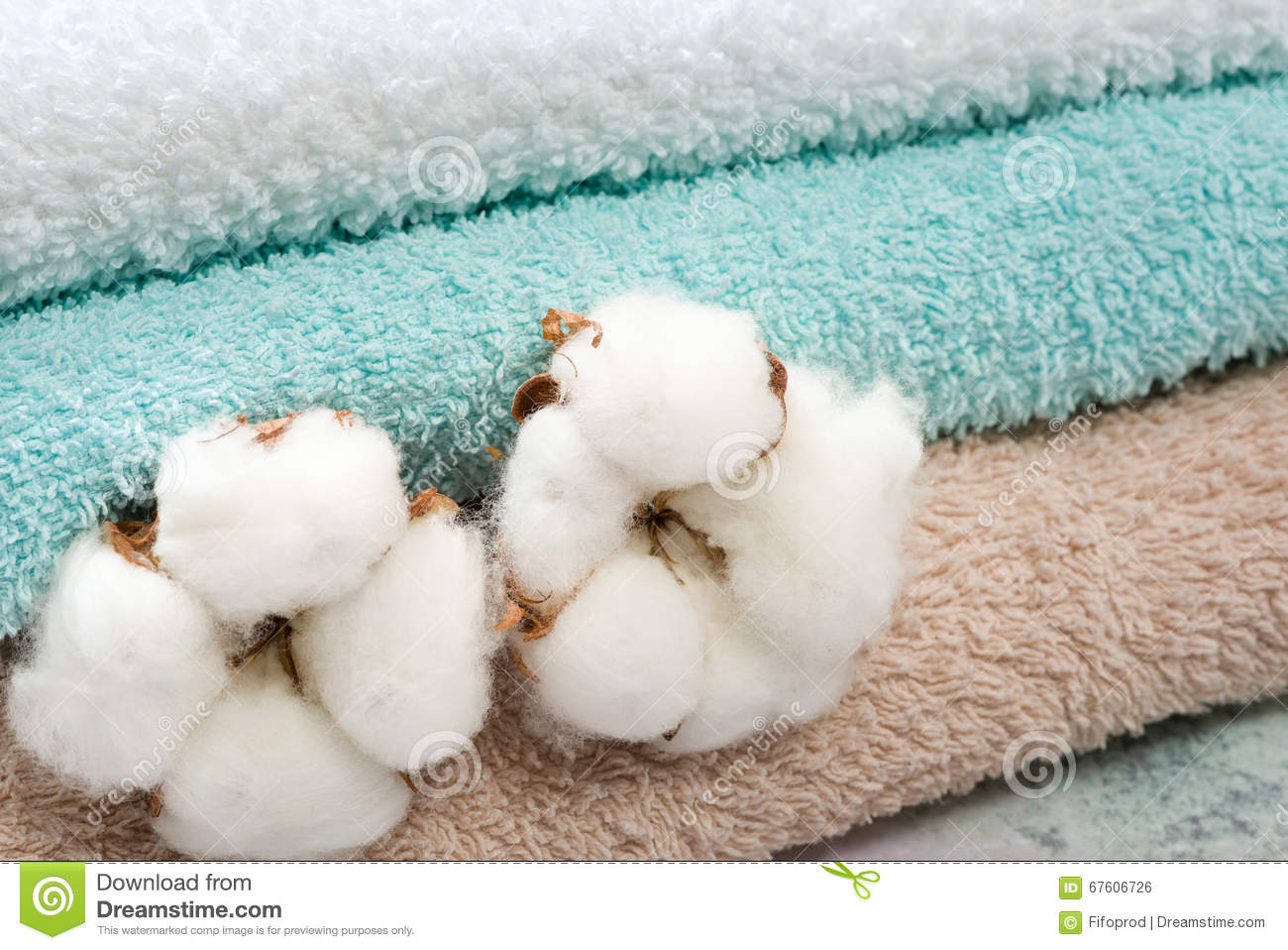 Stack Of Bath Towels With Cotton Blossom Stock Photo - Image of ...