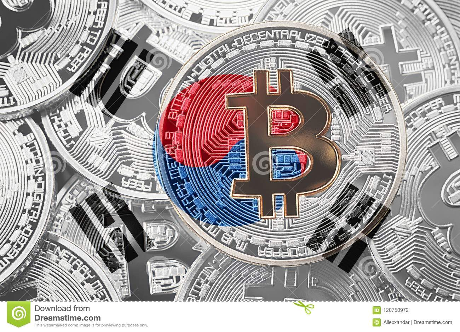 Stack of Bitcoin South Korea flag. Bitcoin cryptocurrencies concept. BTC background.
