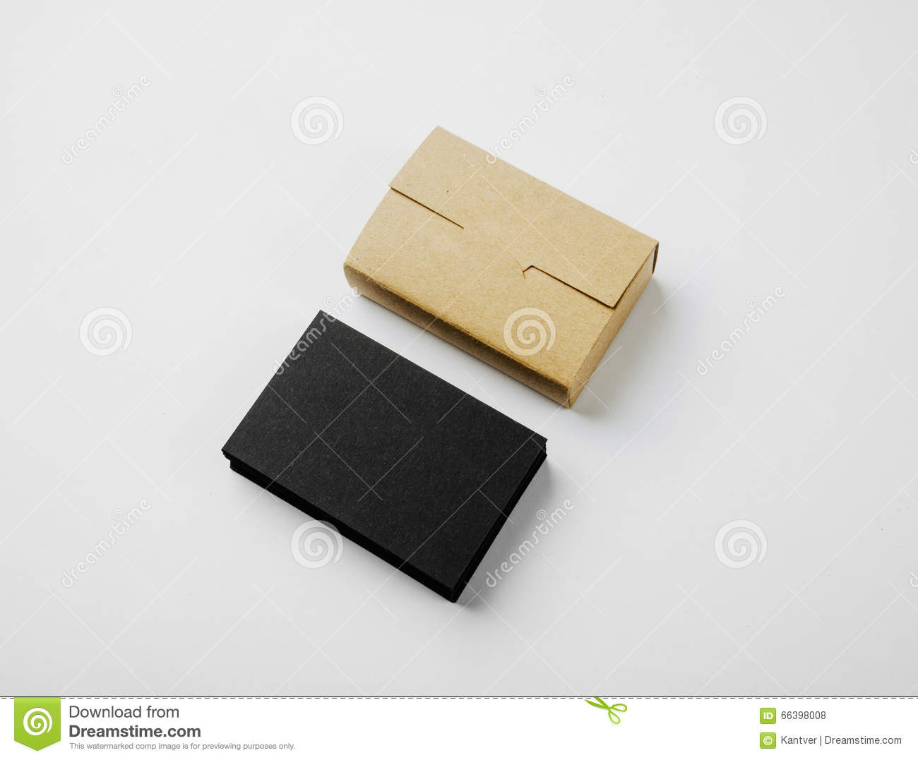 Stack Of Blank Black Business Cards And Craft Cards Box On White ...