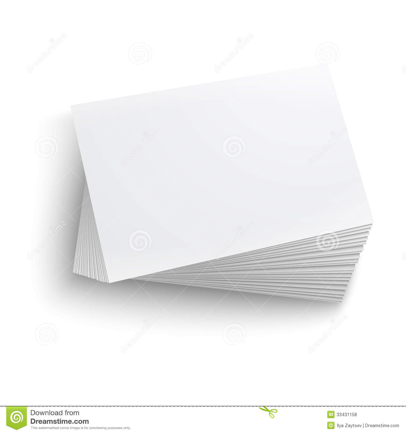 Twisted stack of blank business card on white background with soft ...