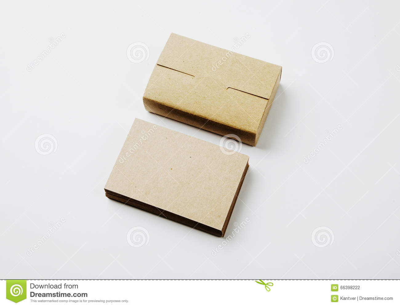 Stack Of Blank Business Cards And Craft Cards Box On White ...