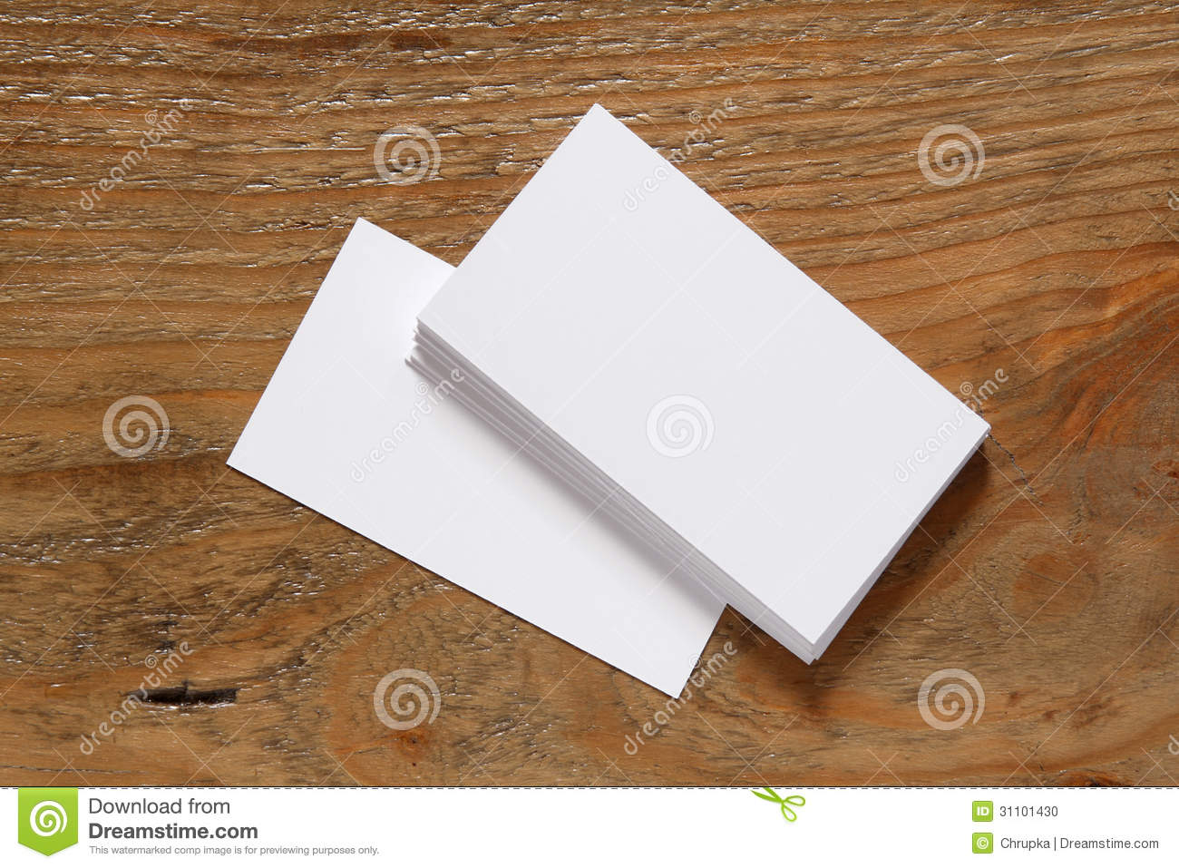 Stack Of Blank Business Cards On Wooden Background Stock Photo ...