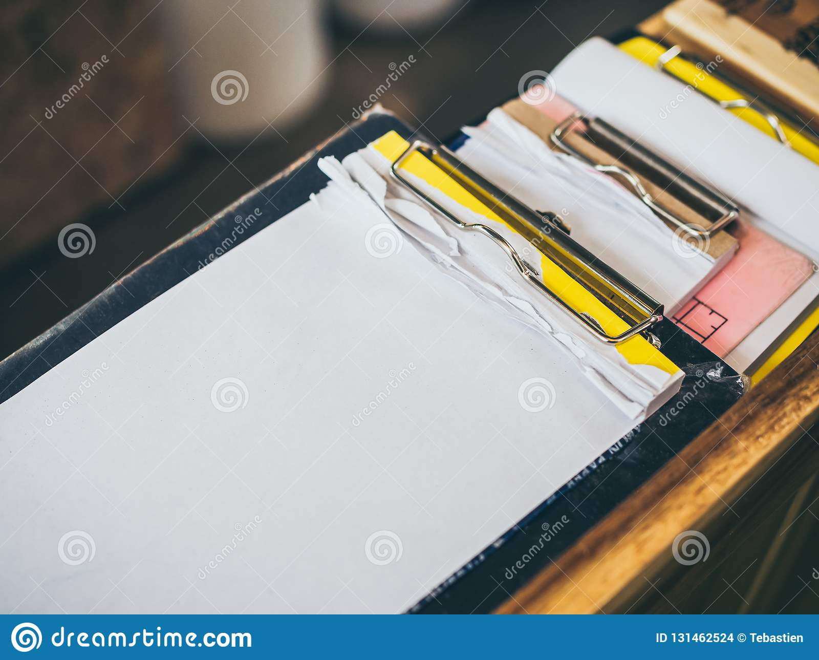Stack Of Blank Notepad Torn In The Clipboard For Note Order List In