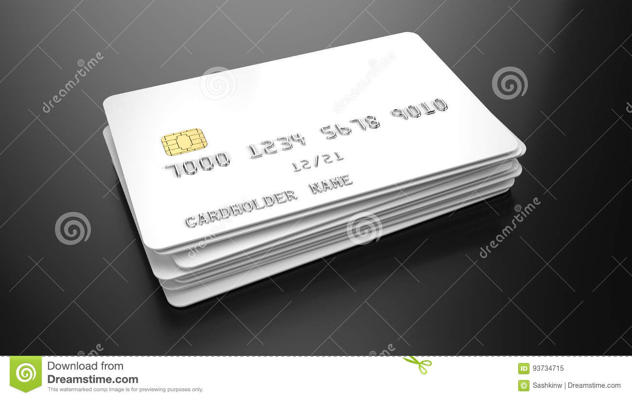 stack of blank white credit cards template on black