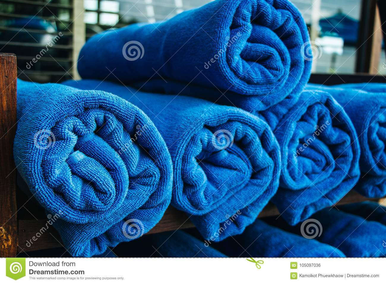 Stack Of Blue Towels Rolled Up Stock Photo - Image of object ...