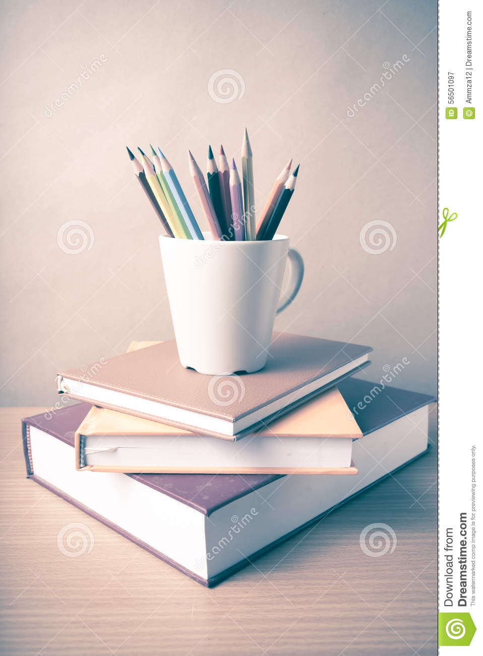 Stack of book with color pencil