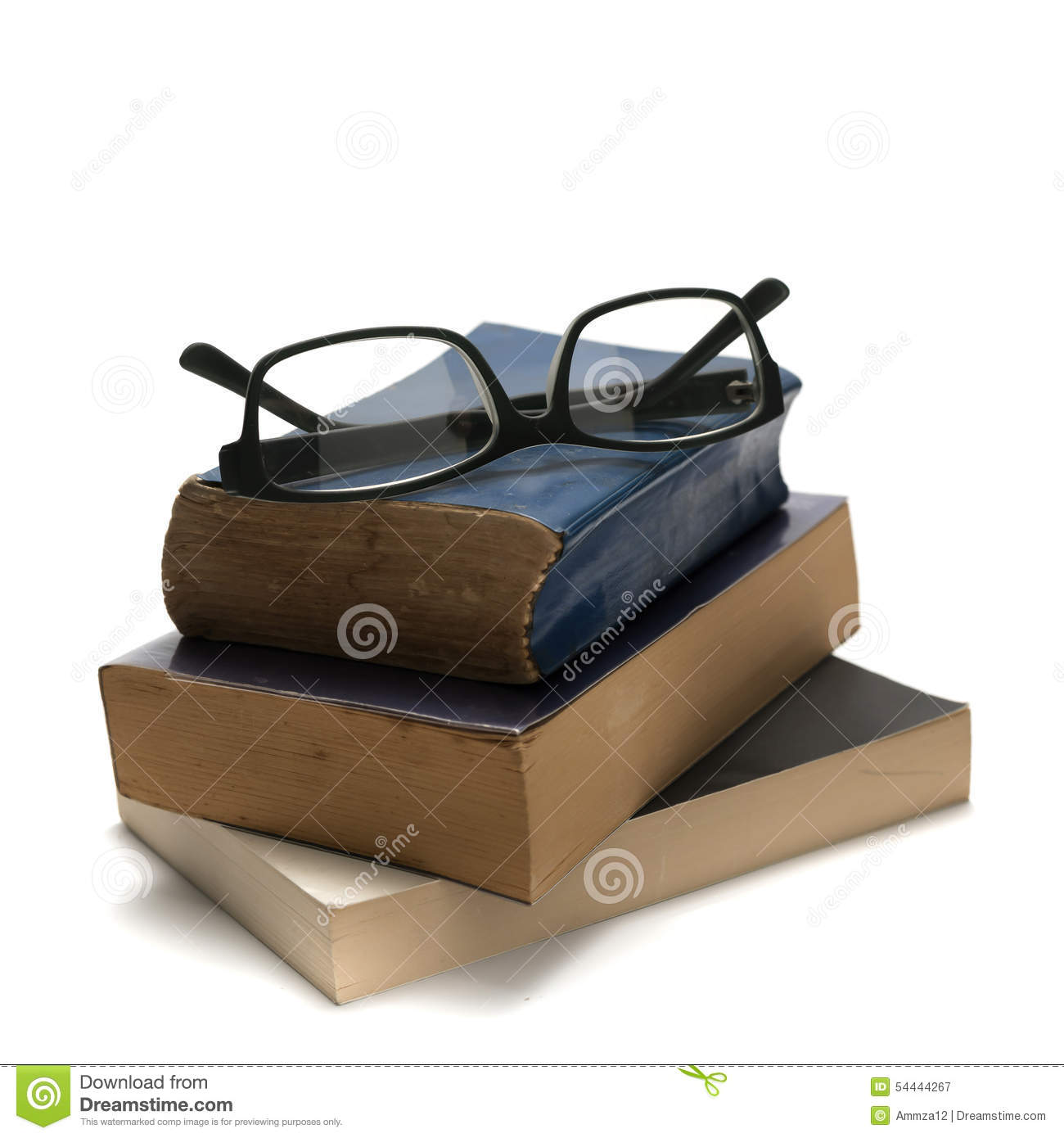Stack of book and glasses