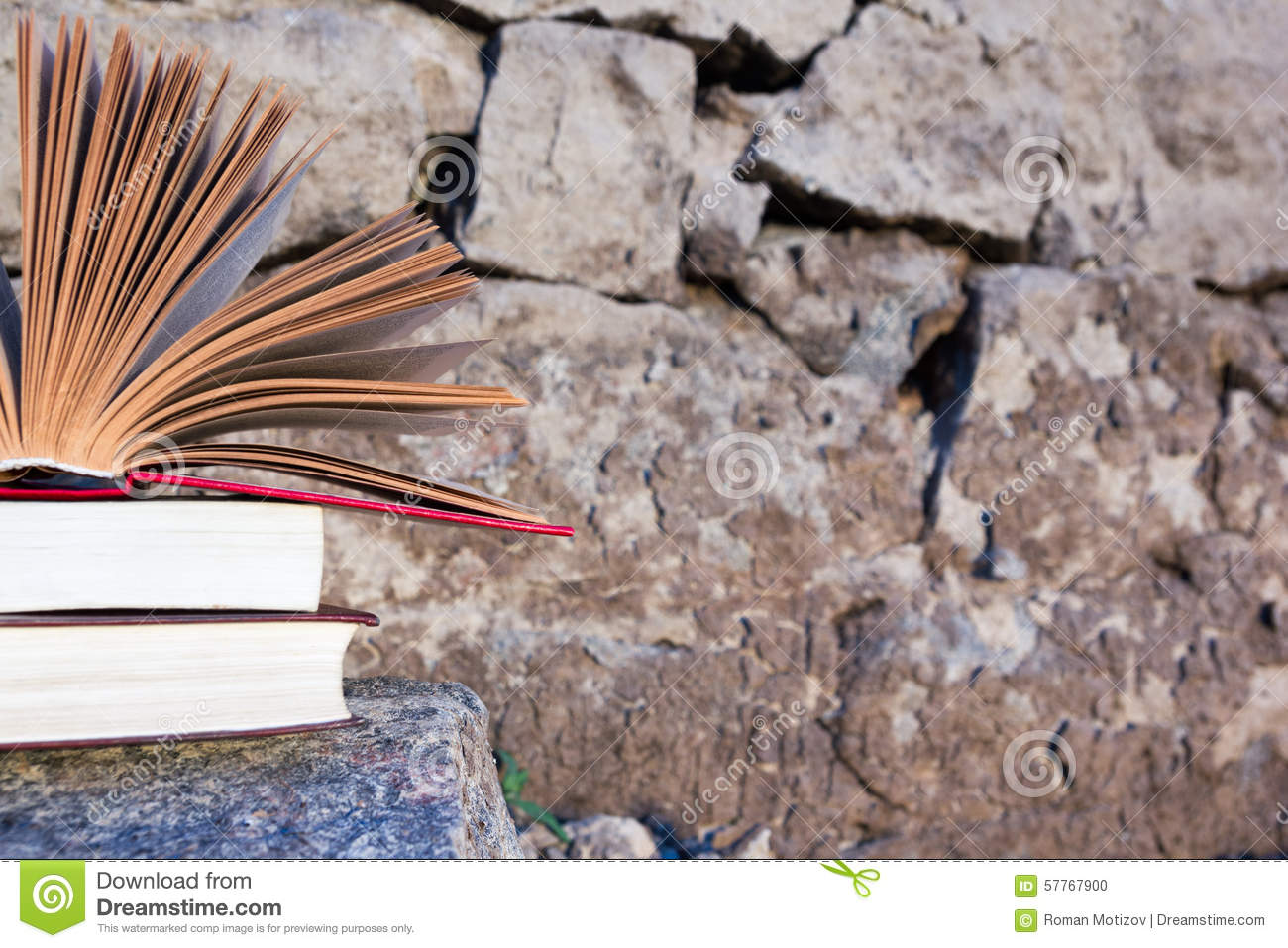 Stack of book and Open hardback book on blurred nature landscape backdrop. Copy space, back to