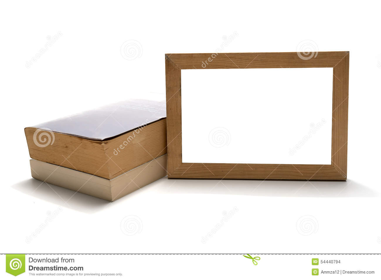 Stack of book with wood photo frame