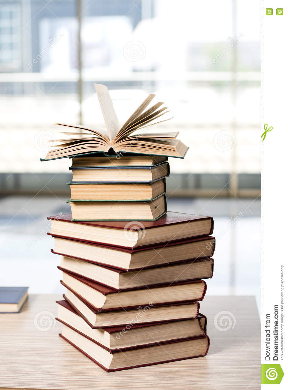 Superb The Stack Of Books Arranged The Office Desk Stock Photo Interior Design Ideas Clesiryabchikinfo