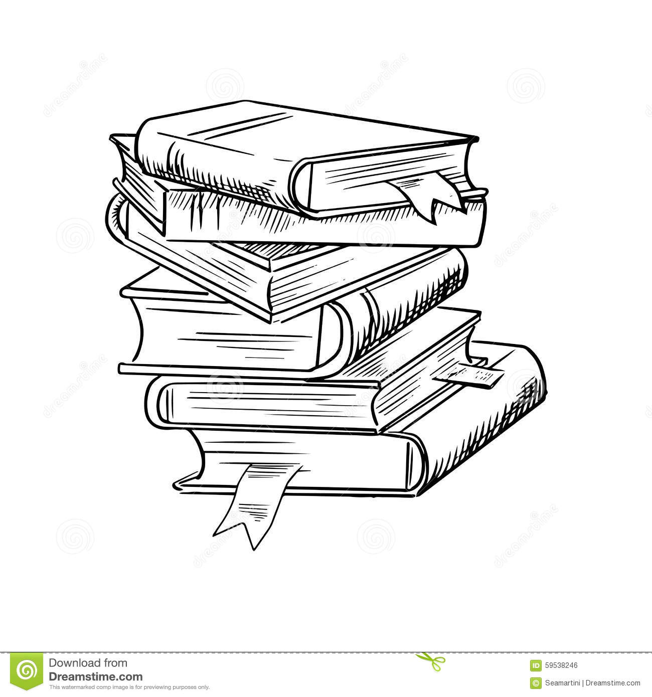 Stack Of Books With Bookmarks Stock Vector Image 59538246