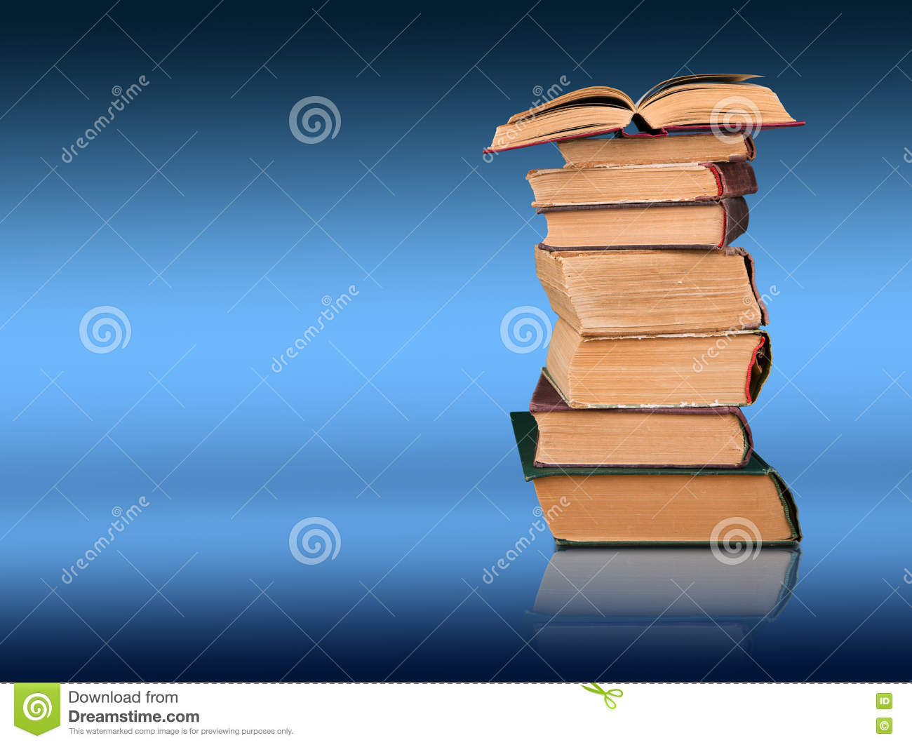 Stack Of Books On The Color Gradient Background, Space For Text ...