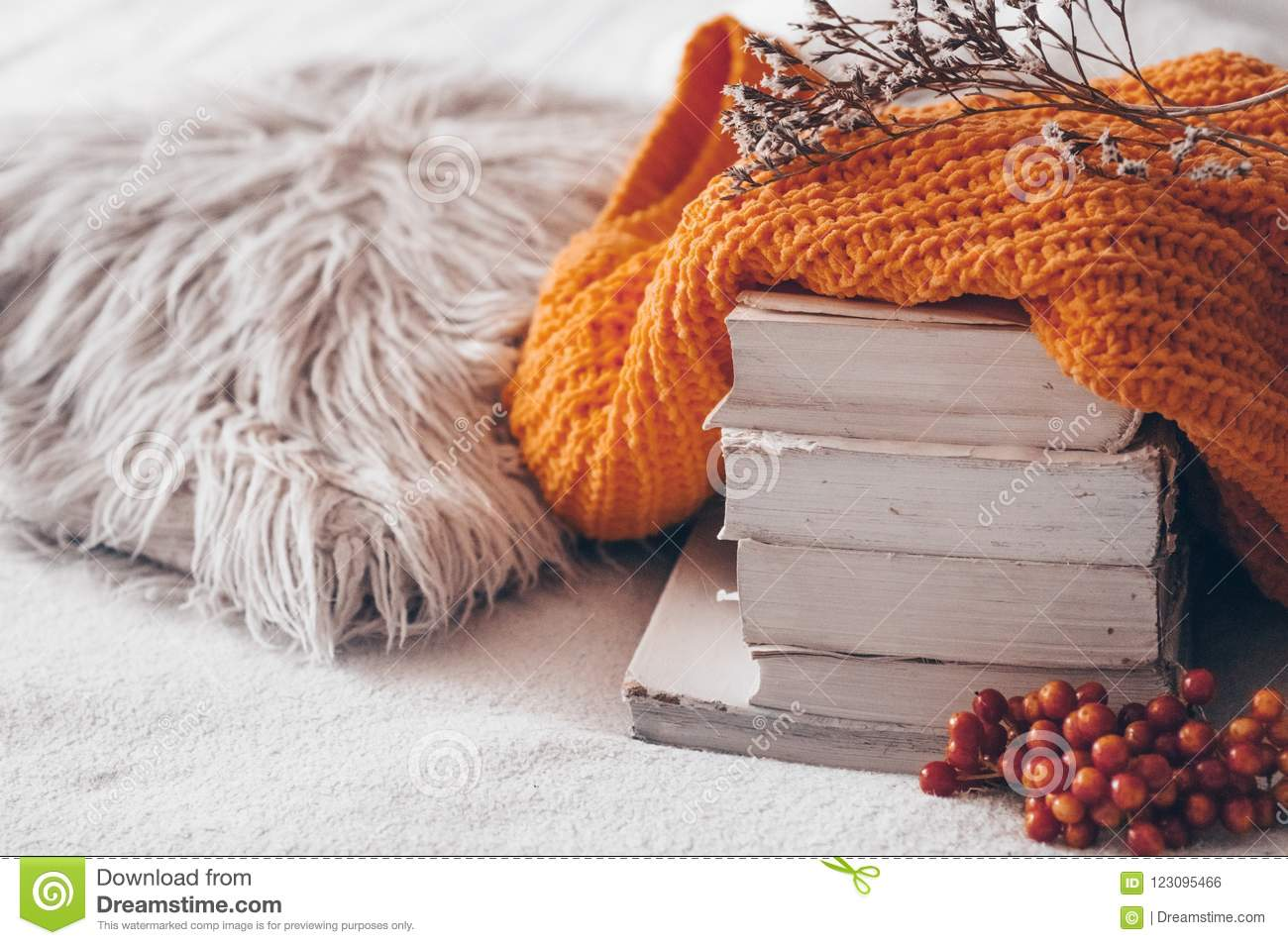Stack of books and cozy knitted sweaters on warm background and with viburnum and herbarium. Autumn-winter concept