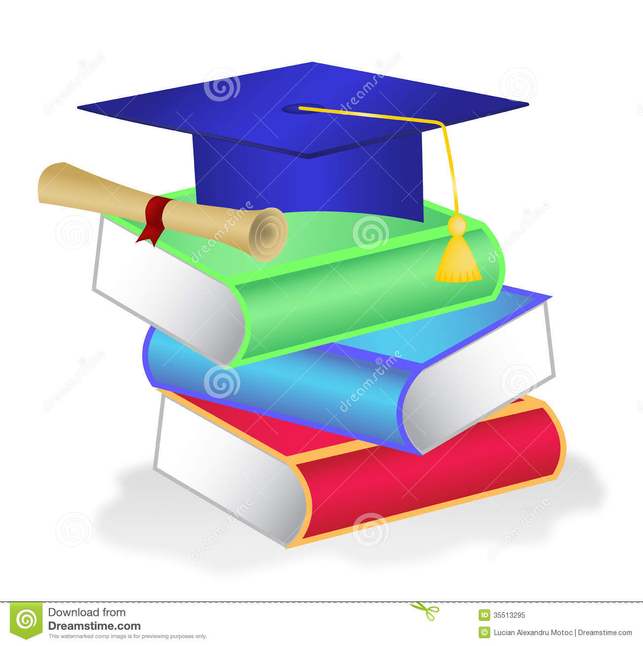 Stack Of Books With Diploma On Top Stock Vector - Image