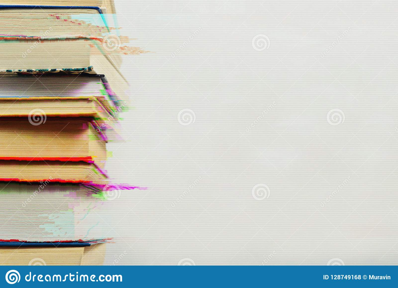 Stack of books in the glitch effect