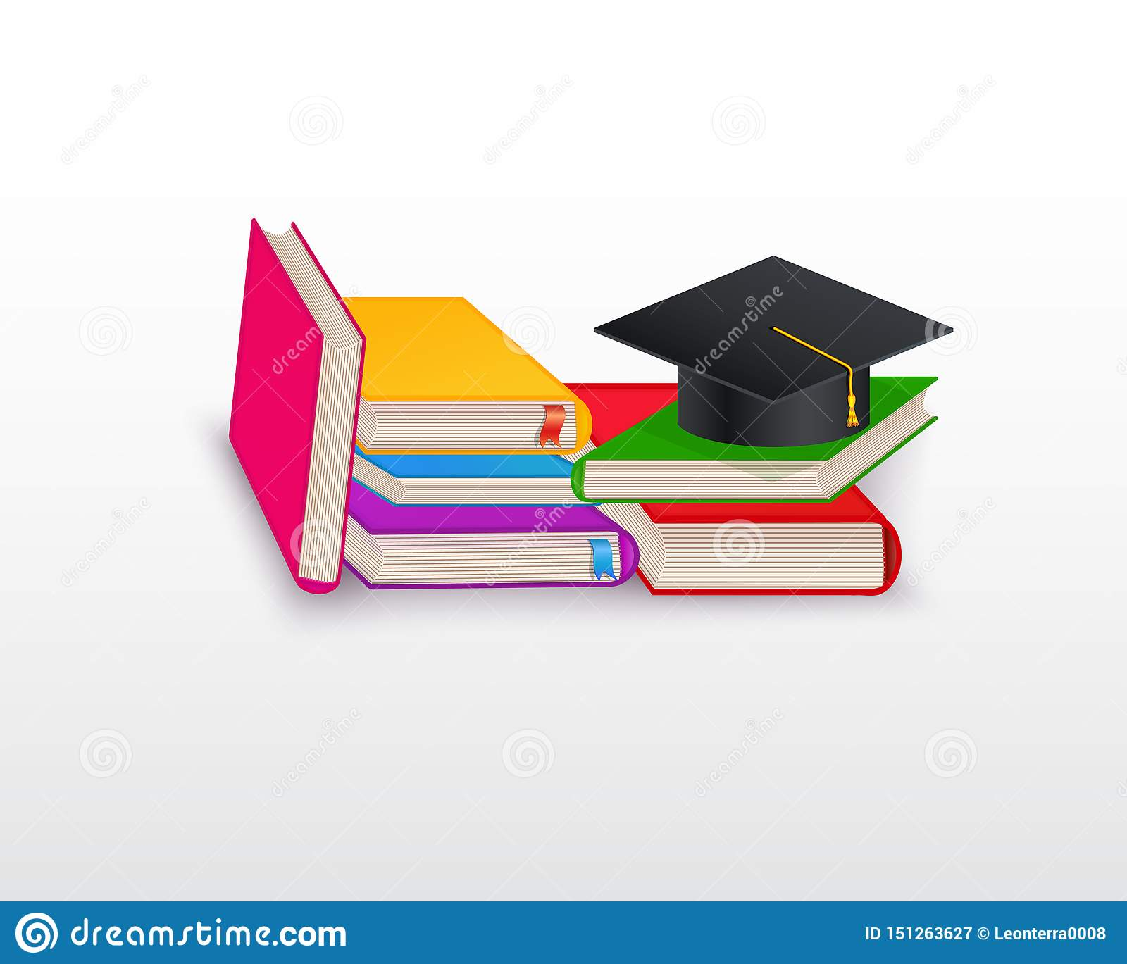 Stack Of Books With Graduation Cap Isolated On White