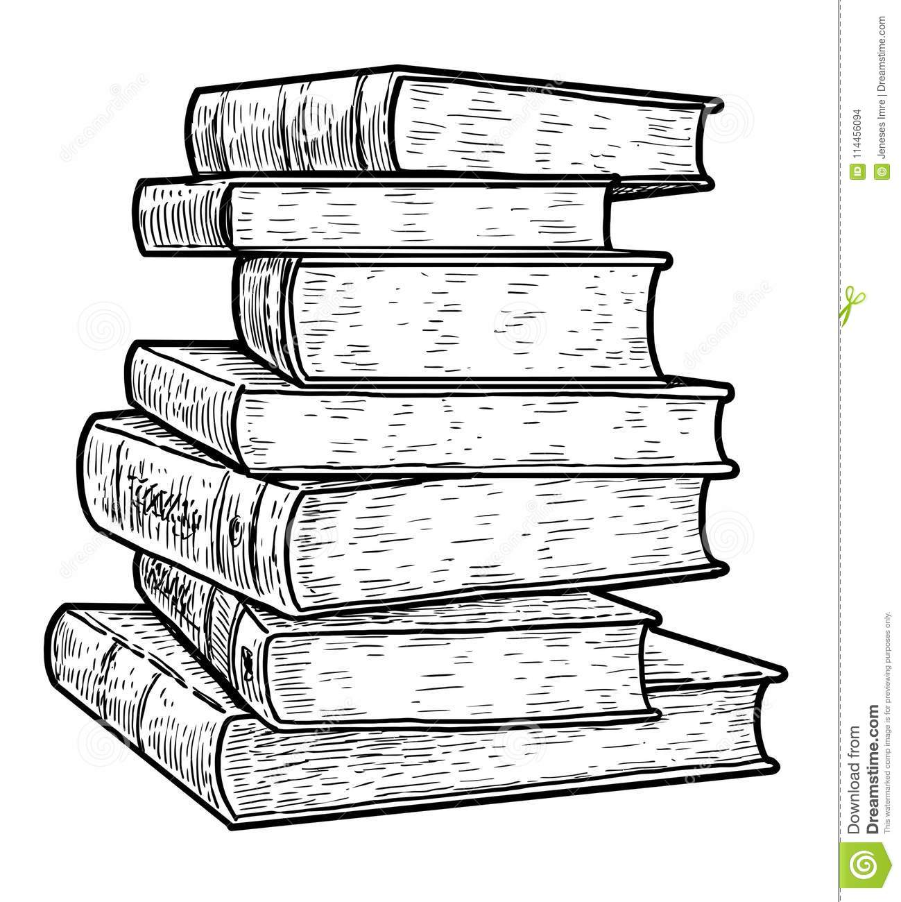 Contour Line Drawing Books : Stack of books illustration drawing engraving ink line