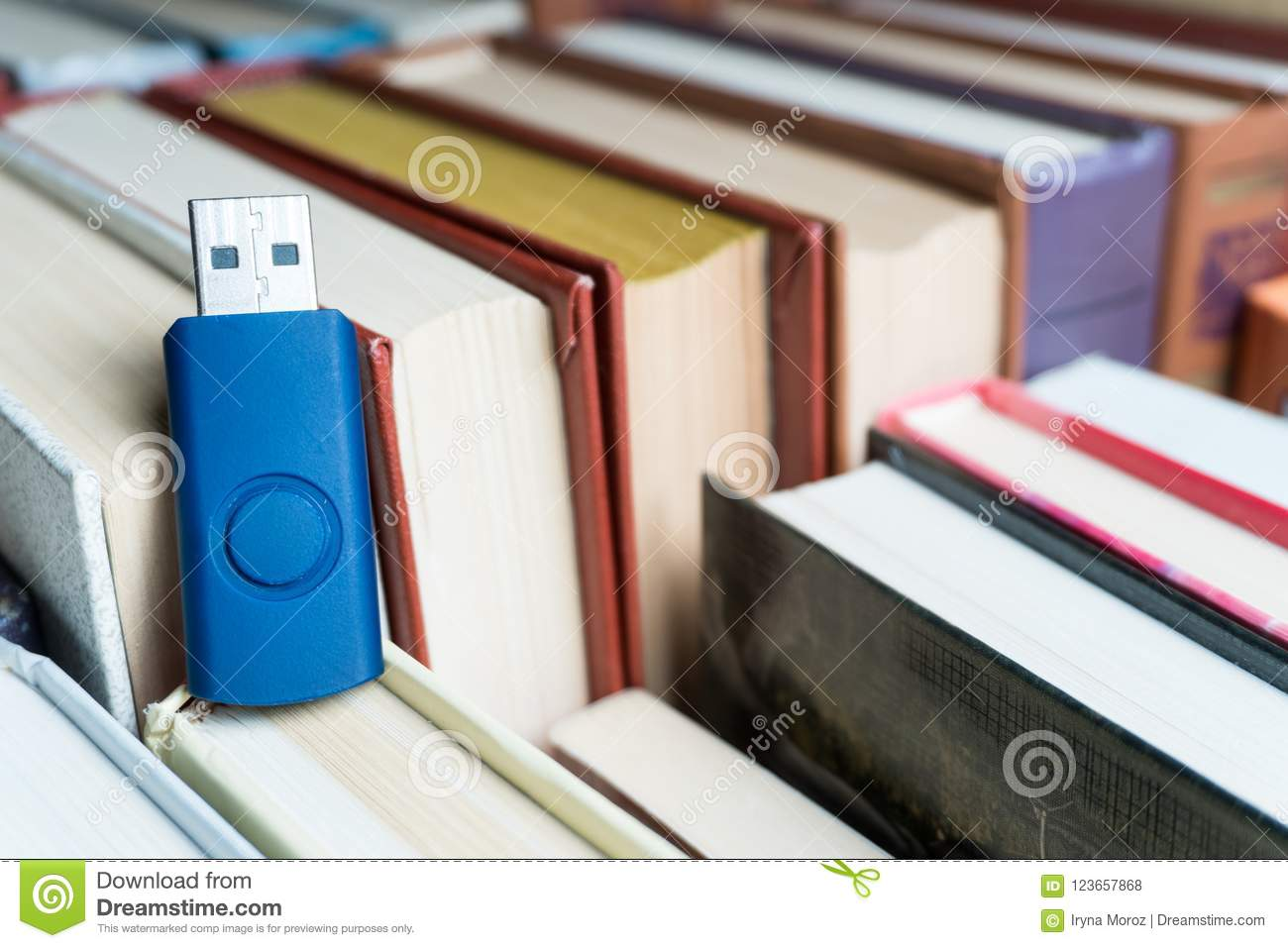 Stack Books On Wooden Background  USB Stock Photo - Image of
