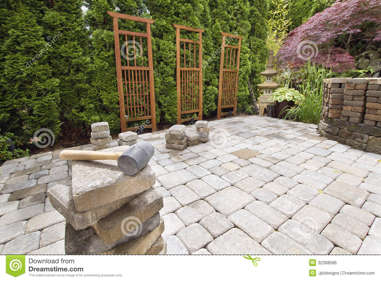 Prices On Landscaping Bricks : Stack of brick pavers for hardscape royalty free stock image