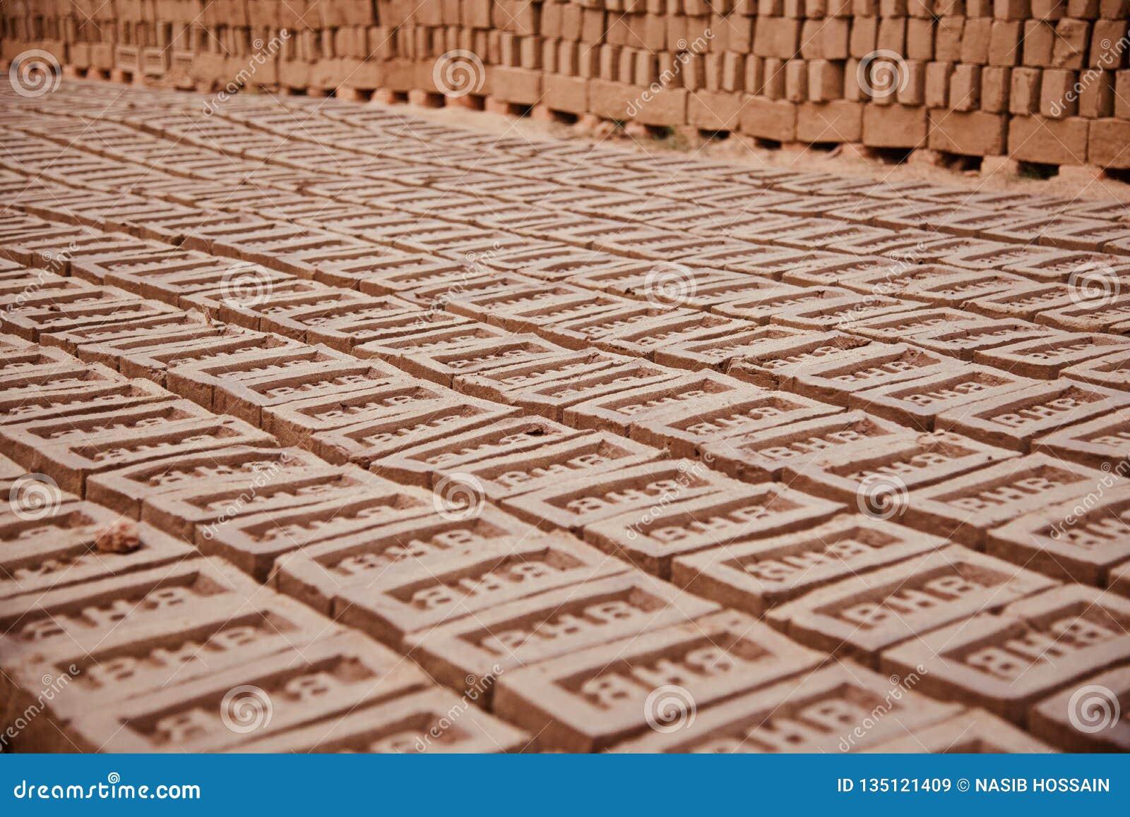 Stack of bricks in a brick field unique photo