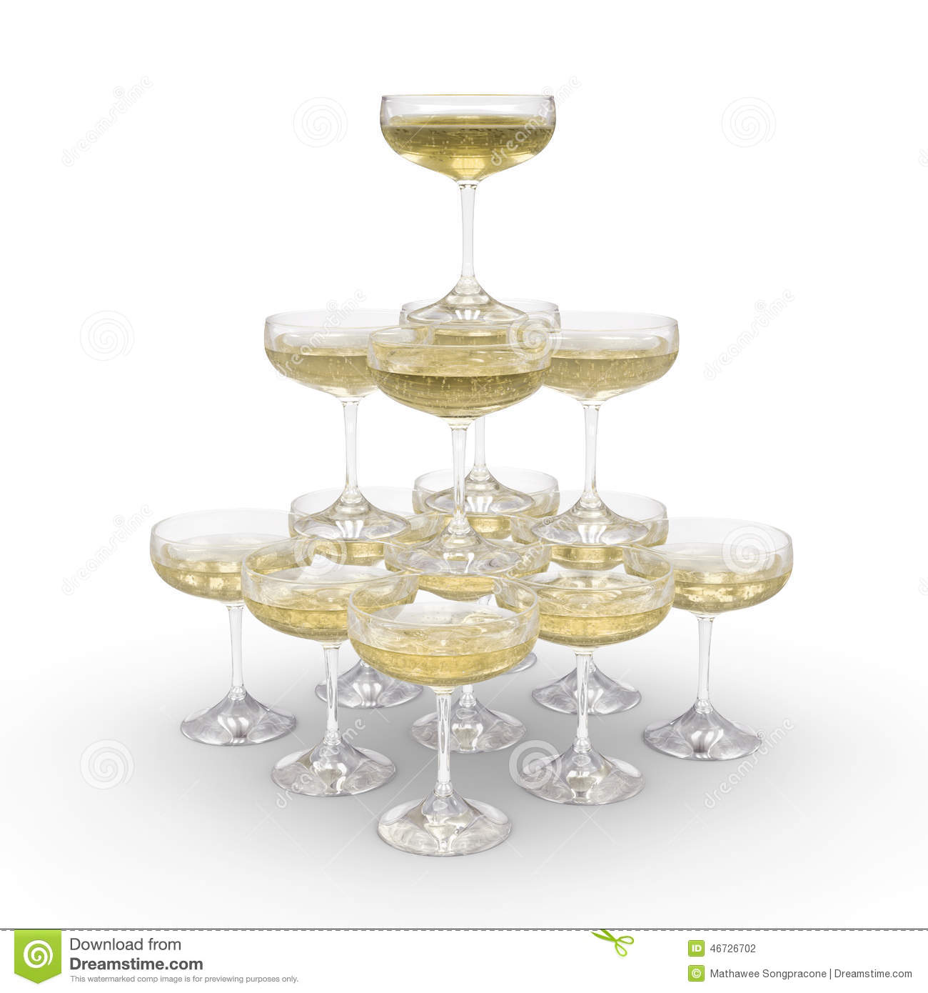 Stack Of Champagne Glasses With Clipping Path Stock