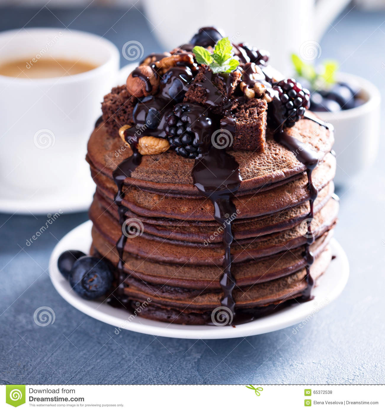 Stack Of Chocolate Pancakes With Toppings Stock Photo - Image ...