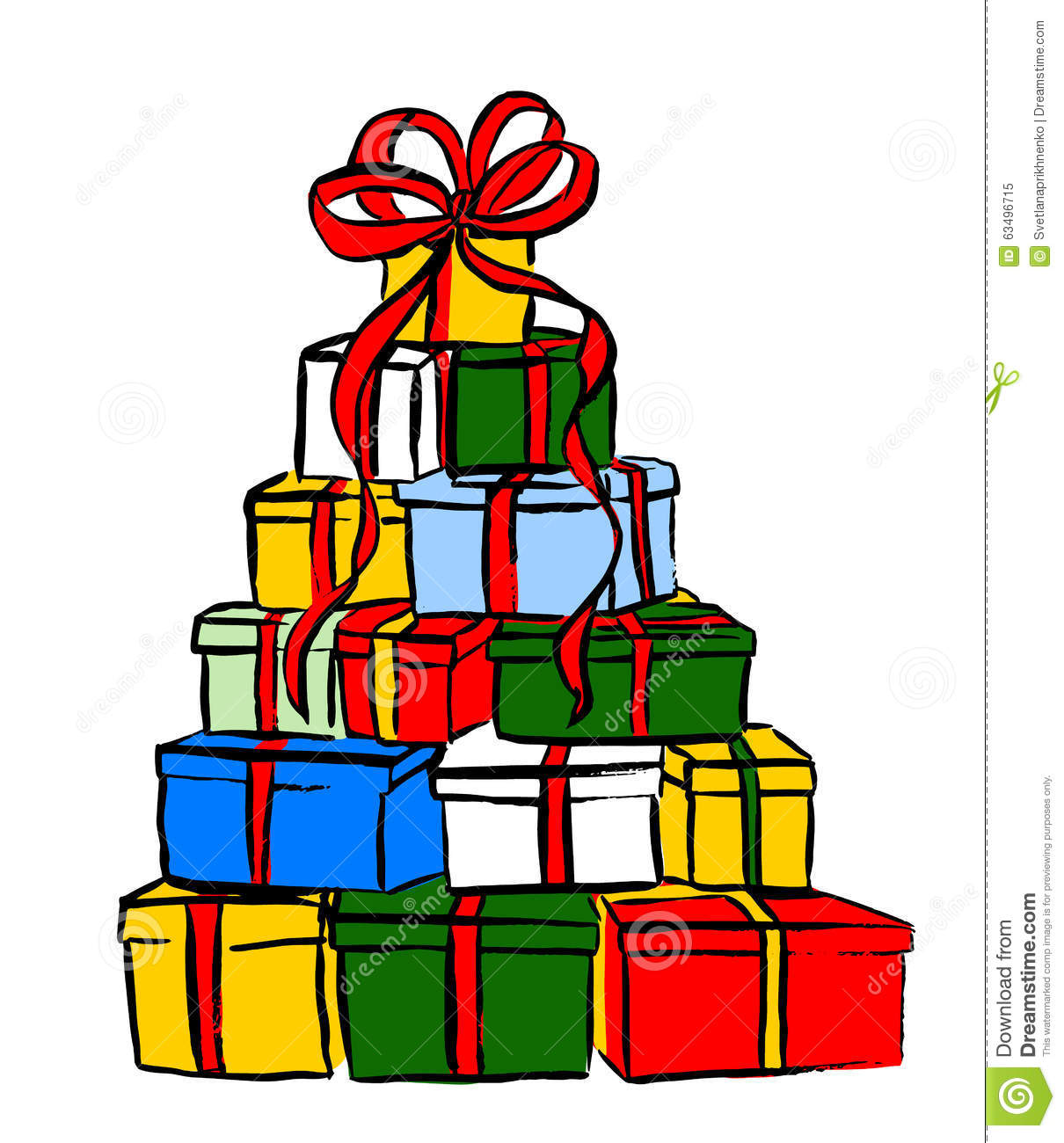 stack of christmas gifts stock vector illustration of illustration rh dreamstime com opening presents clipart present clip art black and white