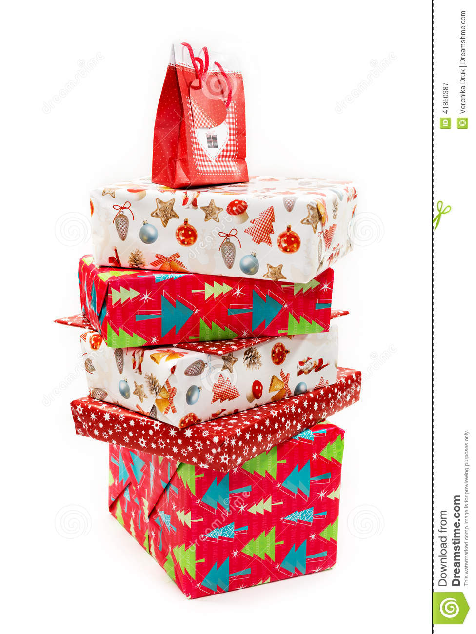 Stack Of Christmas Presents Boxes Stock Photo - Image: 41850387