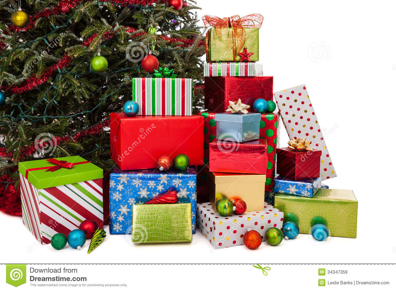 stack of christmas presents