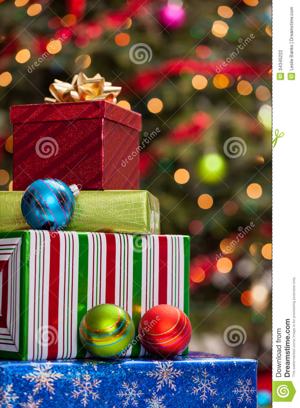 Stack of christmas presents stock photography image