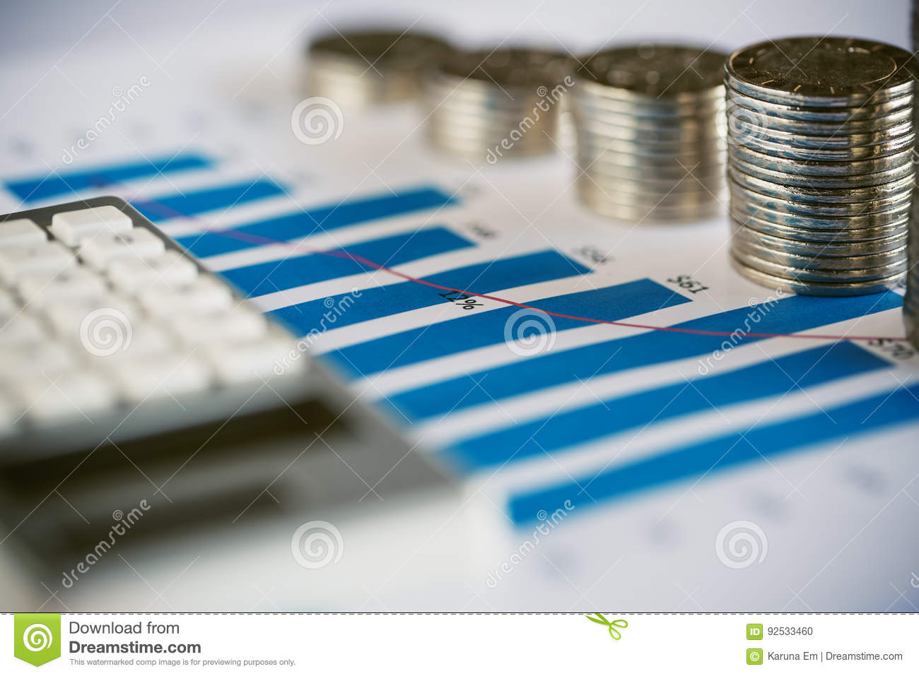 Stack of coin with bar graph stock photo image of progress global royalty free stock photo ccuart Gallery