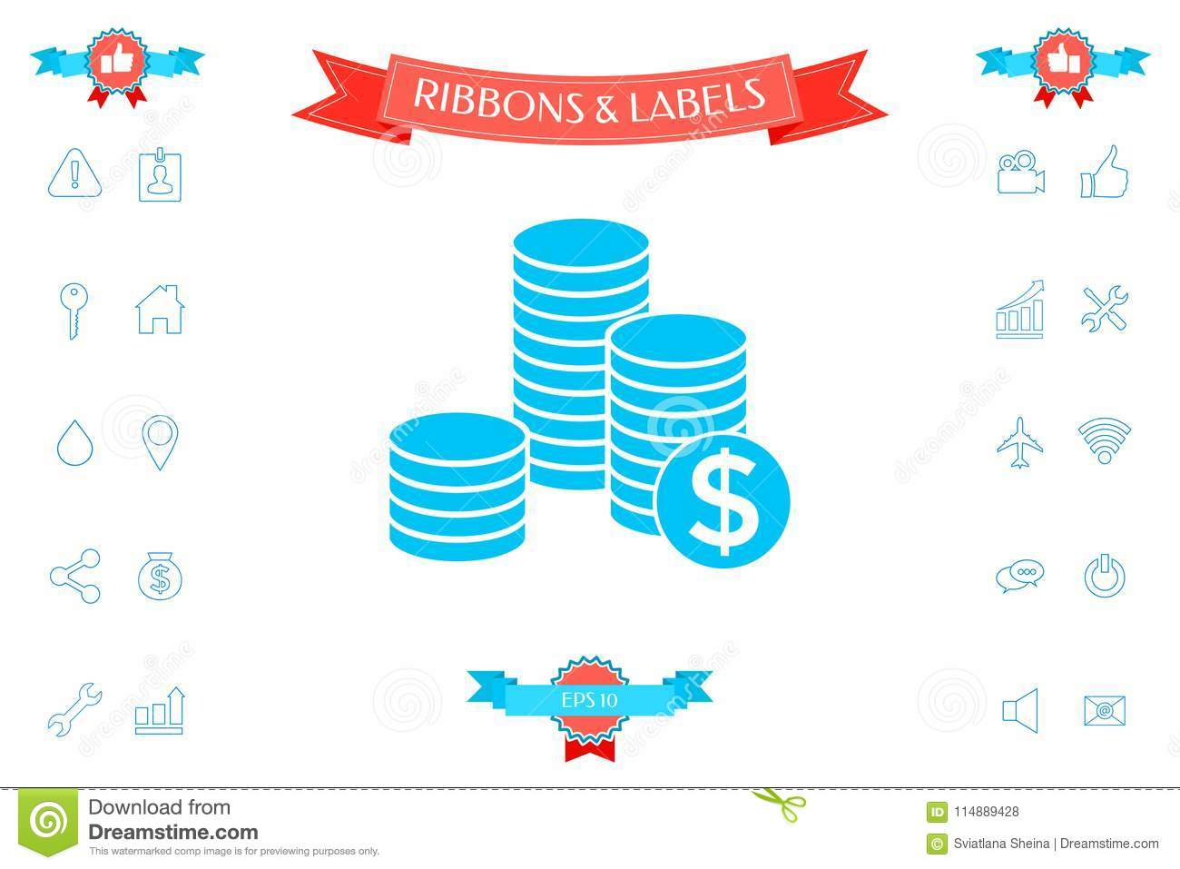 Stack Of Coins With Dollar Symbol Stock Vector Illustration Of
