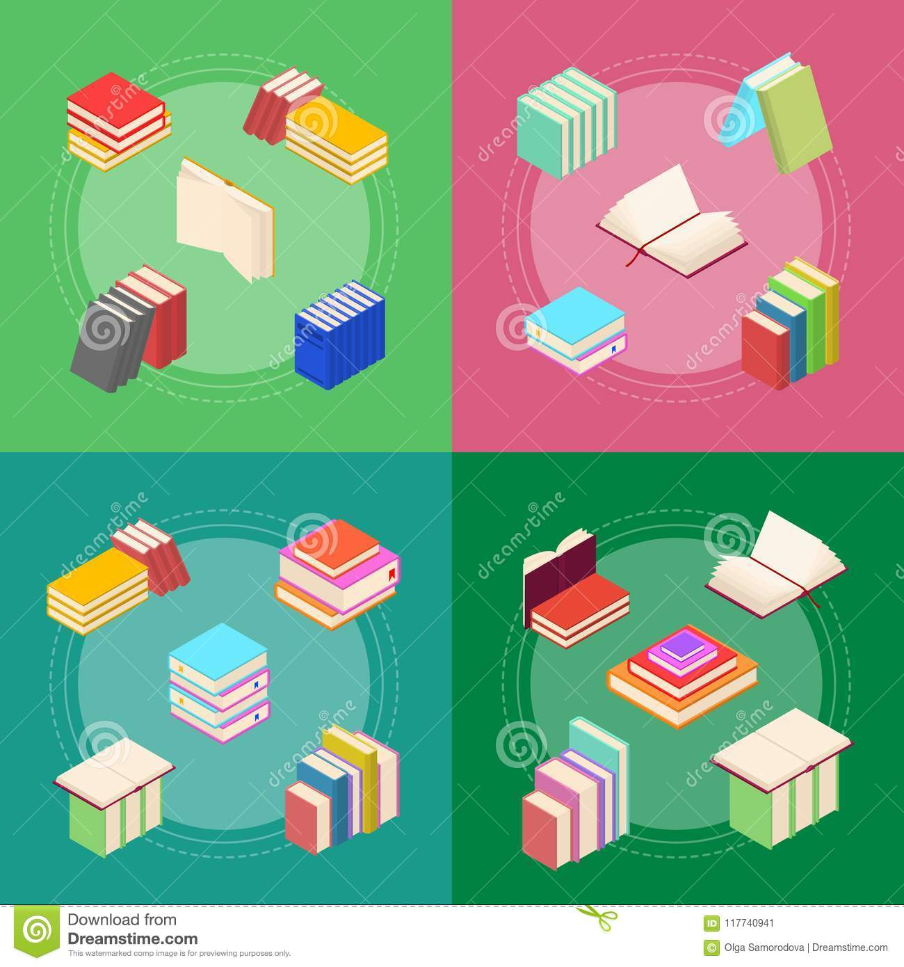 Stack Of Color Books Banner Card Set Isometric View Vector Stock