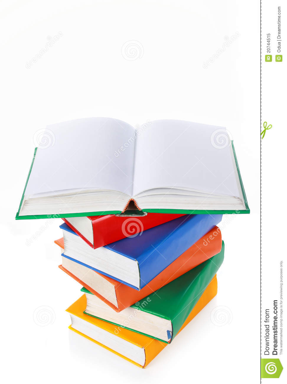 Book Cover Design Isolated Over Colorful Background : Stack of colorful books one book wide open on top royalty