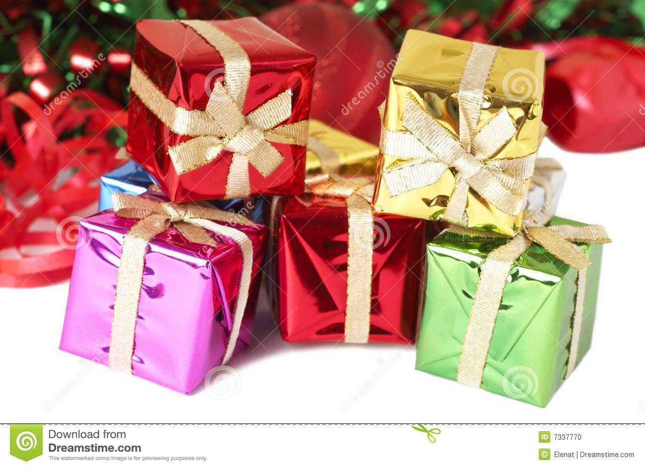 Stack of colorful christmas gift boxes stock photo image