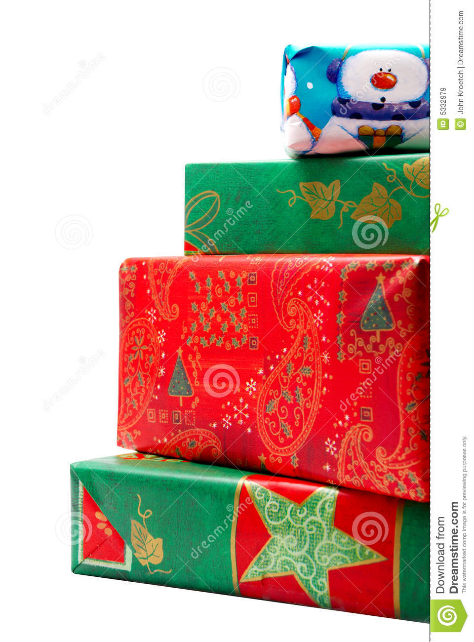 Stack of Colorful Christmas Gifts