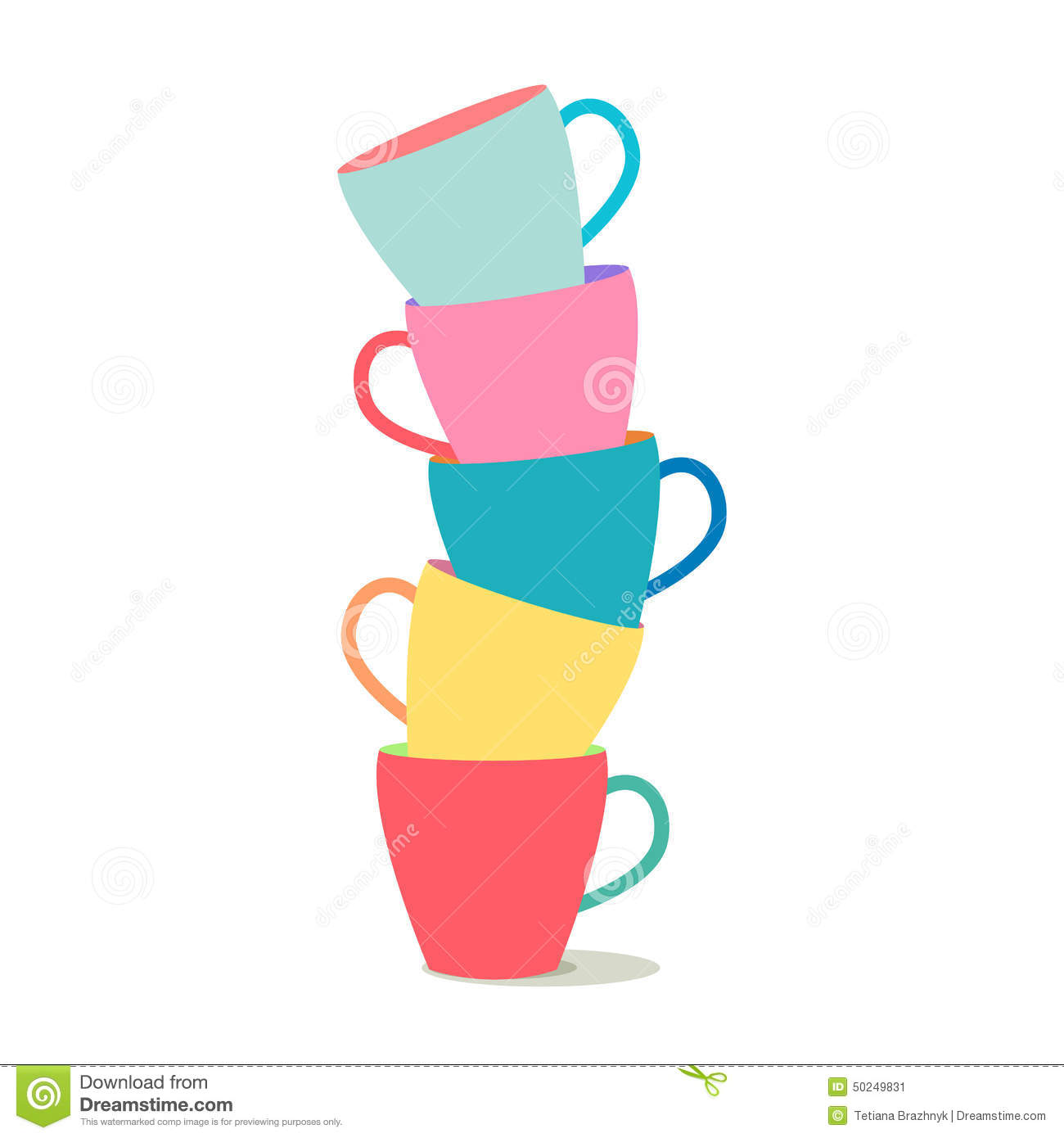 Stack Of Colorful Coffee Cups Stock Vector - Image: 50249831