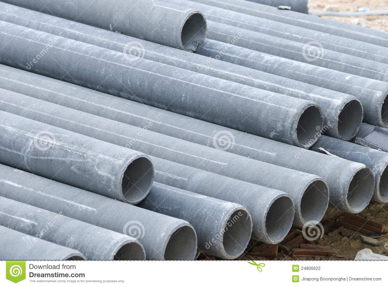 Stack Concrete Drainage Pipe In Construction Site Stock