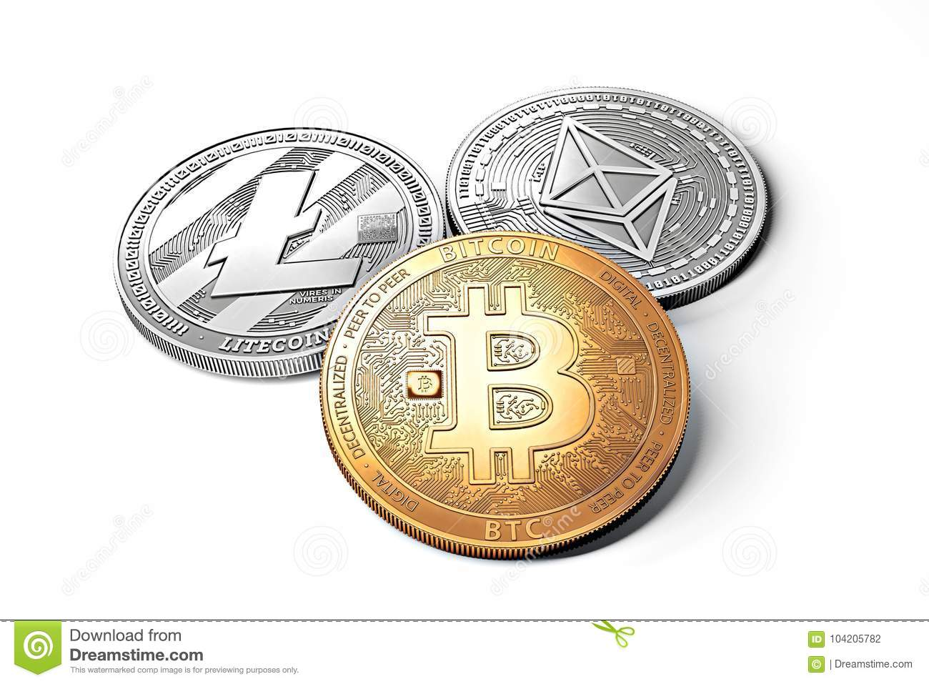 Stack of cryptocurrencies: bitcoin, ethereum, litecoin, monero, dash, and ripple coin together