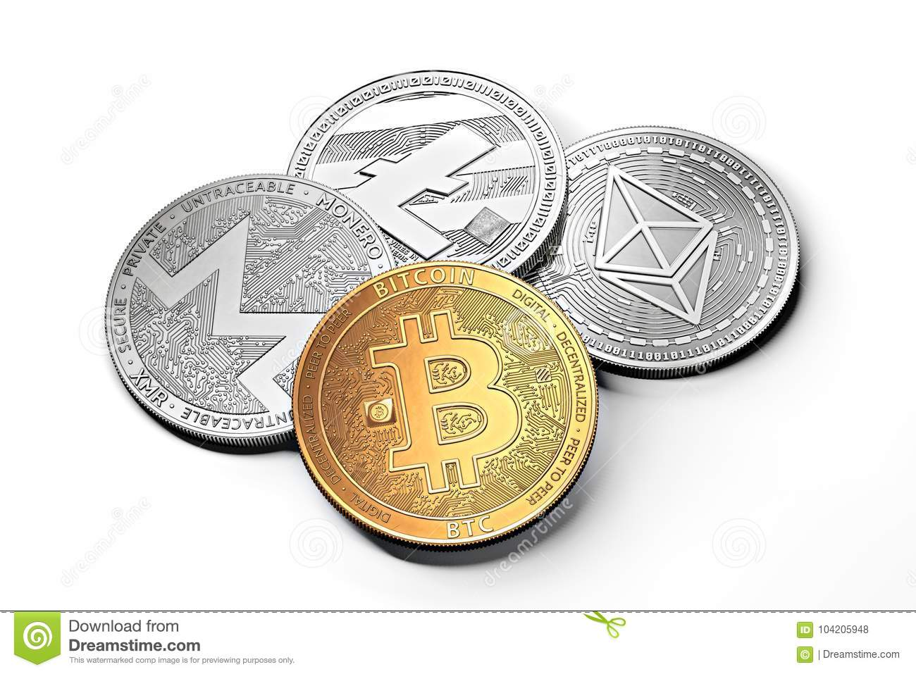 Stack of cryptocurrencies: bitcoin, ethereum, litecoin, monero, dash, and ripple coin together, isolated on white.