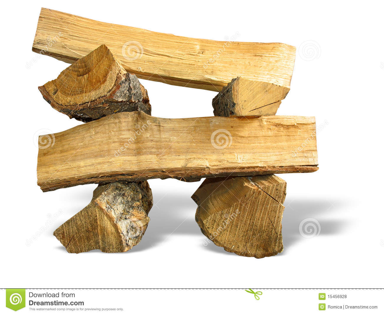 Cut Wood Logs ~ Stack of cut logs fire wood isolated over white royalty