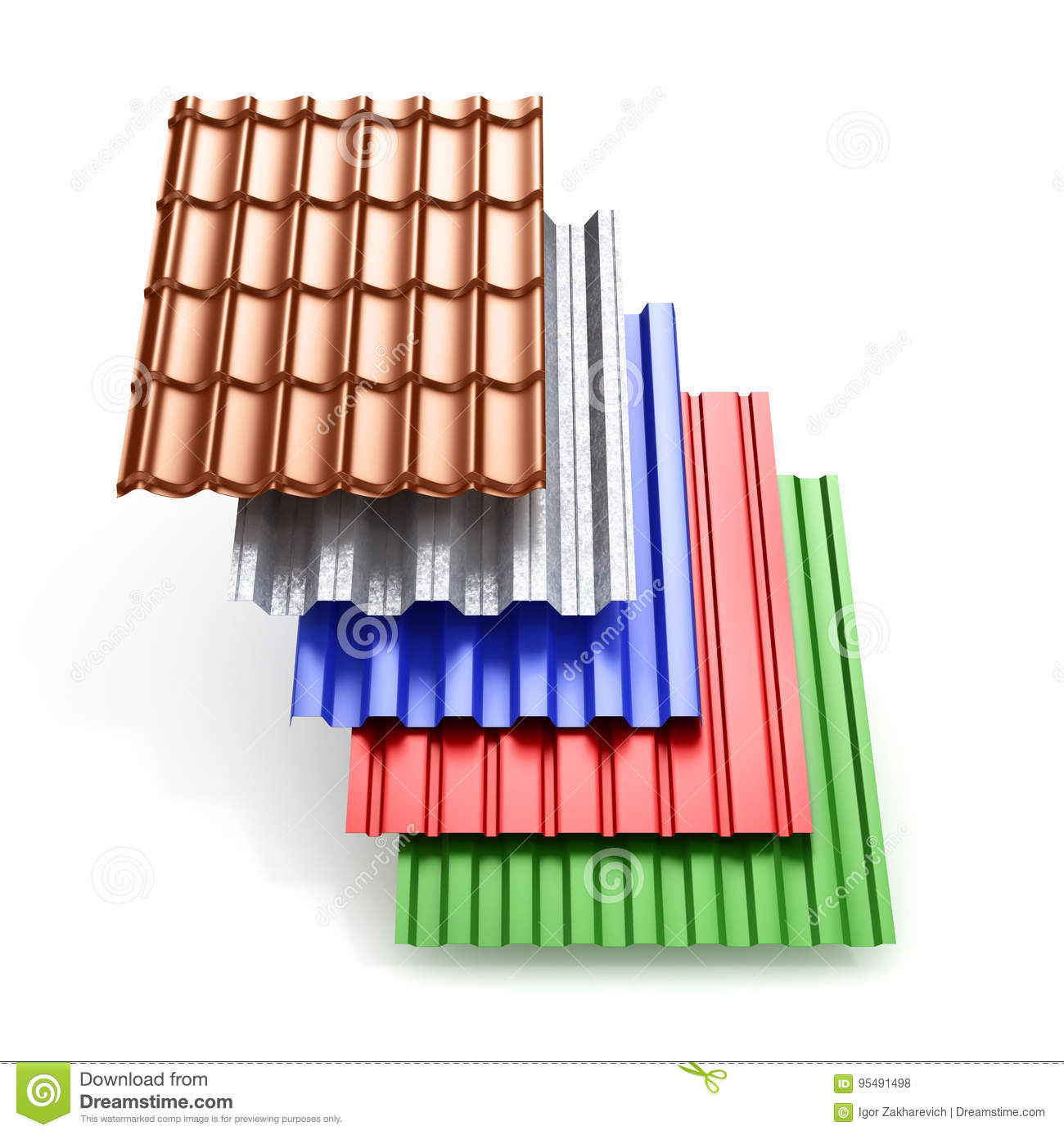 Stack Of Different Types Metal Roof Coating  Stock Photo