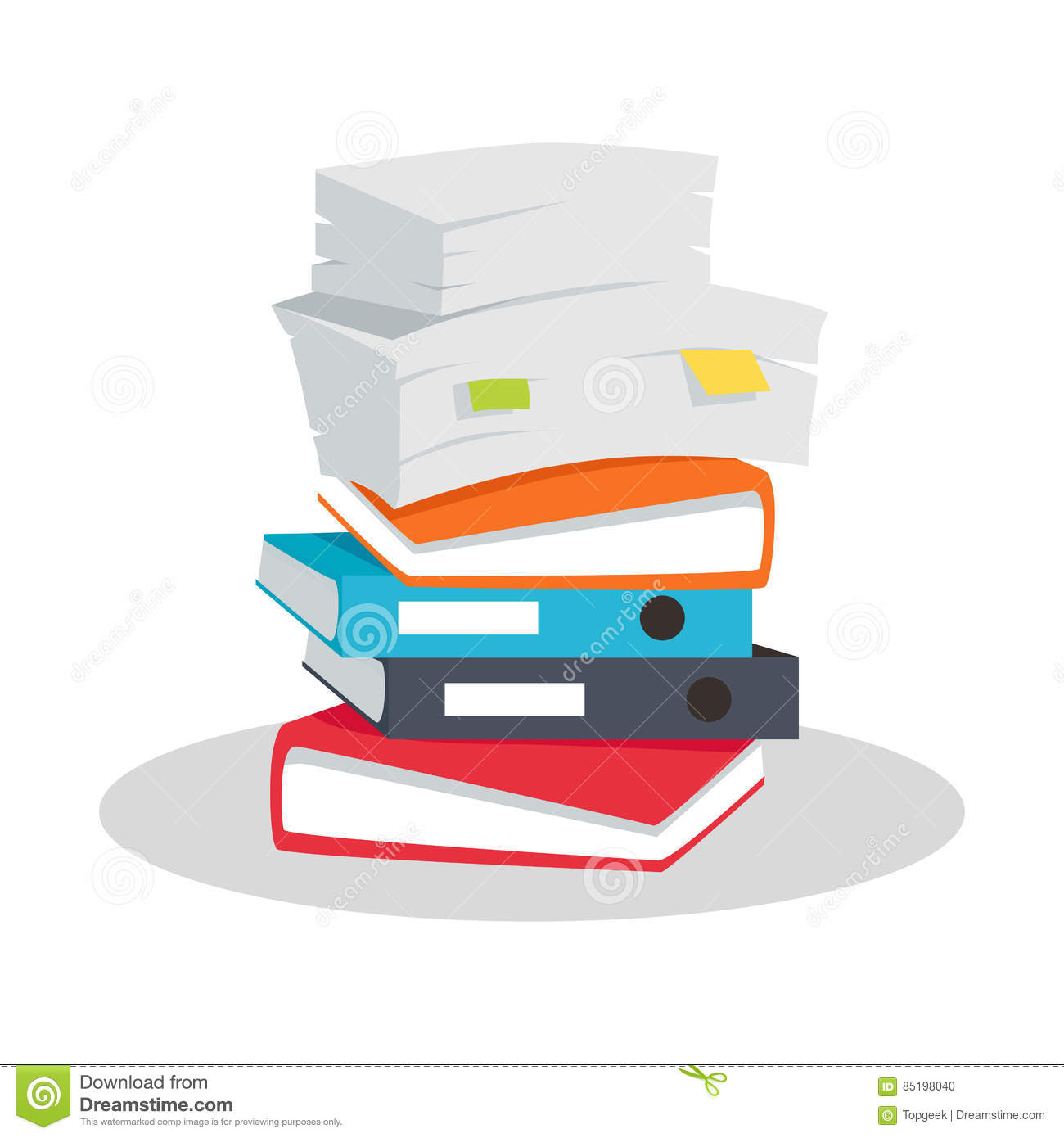 stack of documents vector flat design on white. stock vector