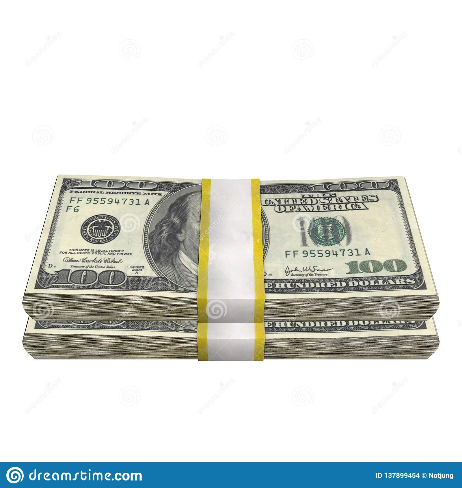 Stack of 100 Dollars banknote bill USA money banknote on a white background.