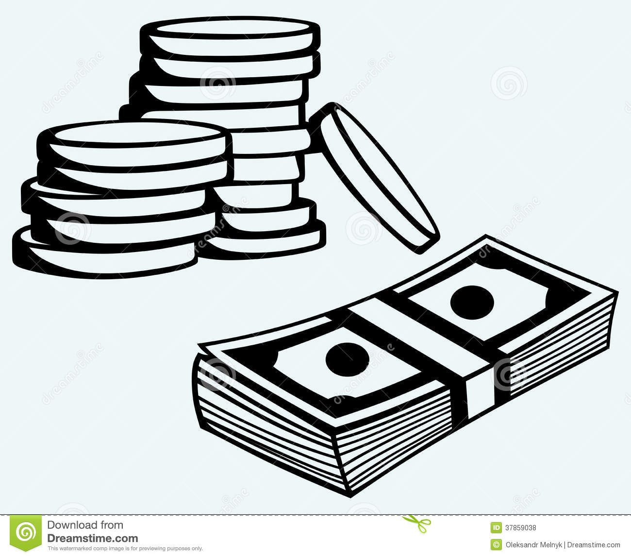 Stack Dollars Banknotes And Coins Royalty Free Stock Photos - Image ...