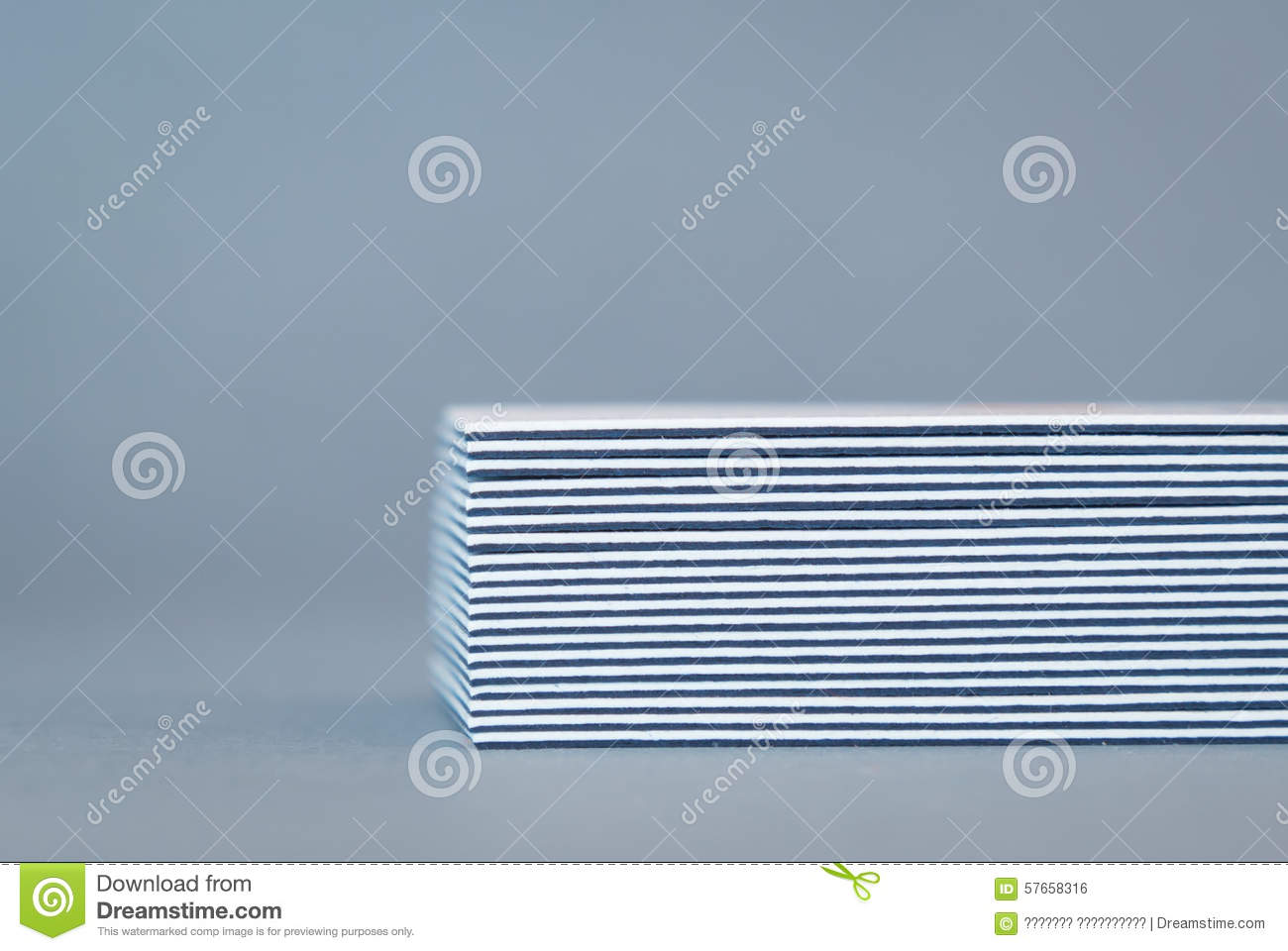 Stack Of Double-sided Business Cards, Side View Stock Photo ...