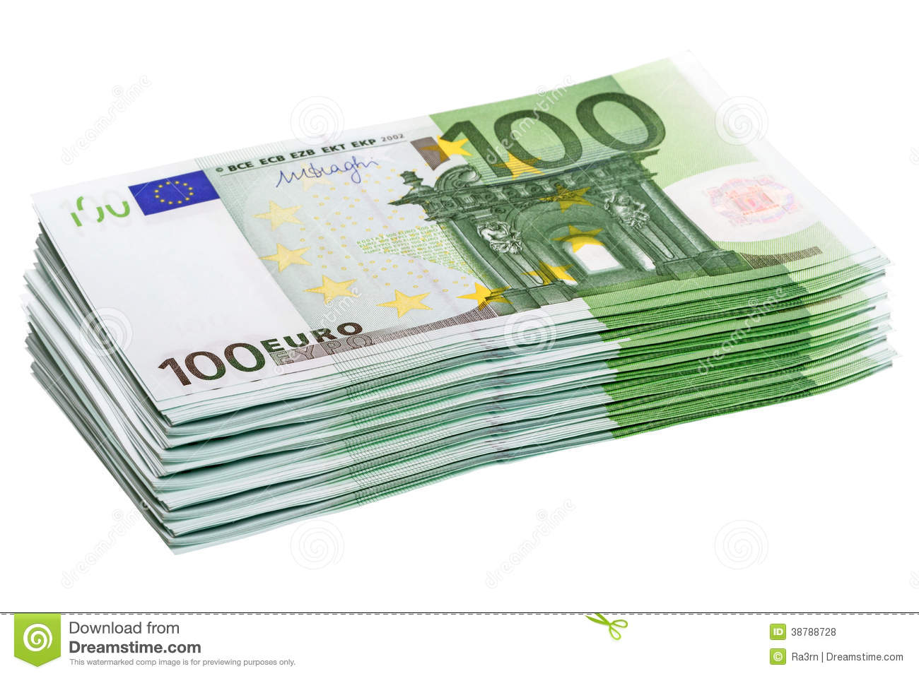Stack of 100 euro banknotes stock photo image 38788728 for Wohnwand 100 euro