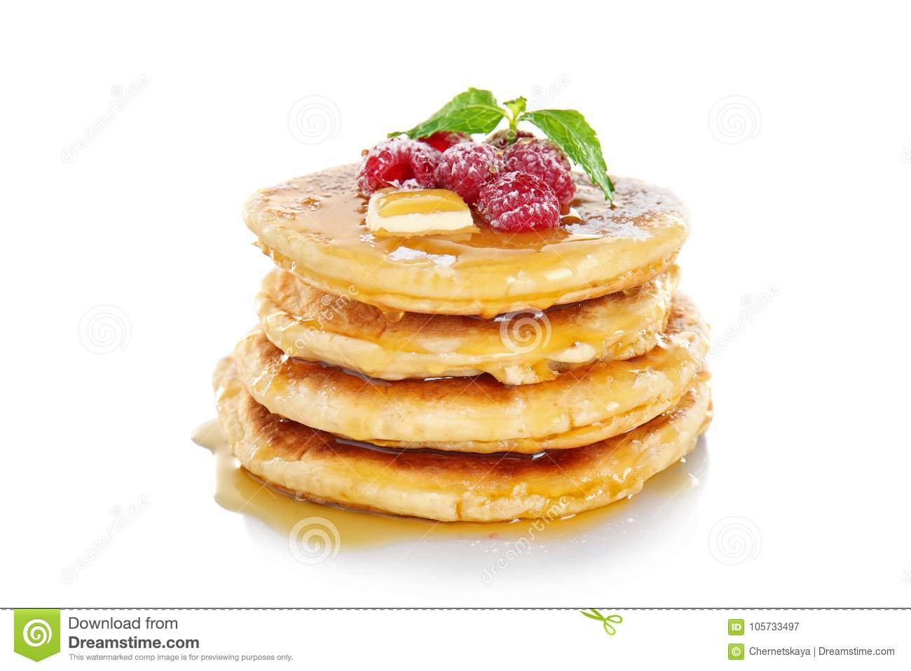 Stack of fresh pancakes with berrie