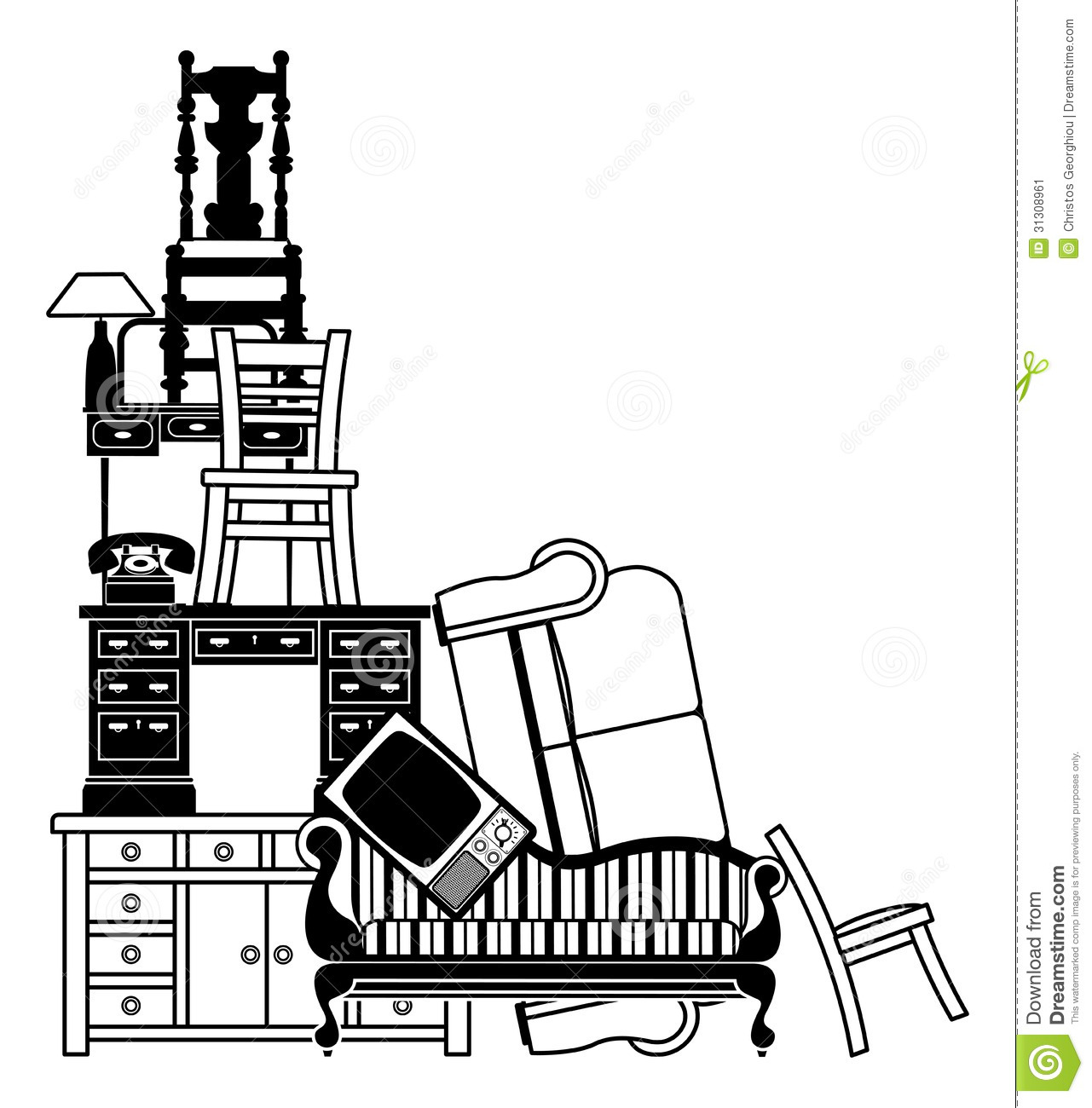 stack of furniture stock vector  illustration of